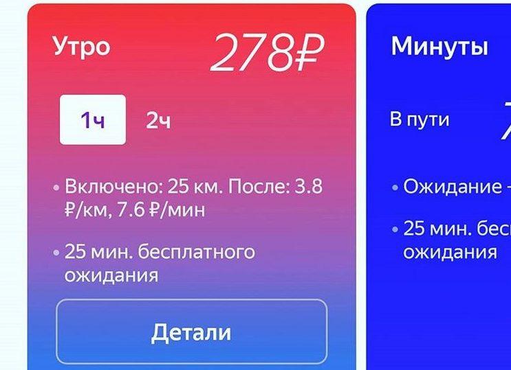 Подробности тарифов Яндекс Драйв