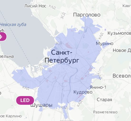 карта зоны парковки Яндекс Драйв в СПБ